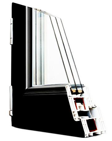 Ламинирование пластикового окна цвет антрацит