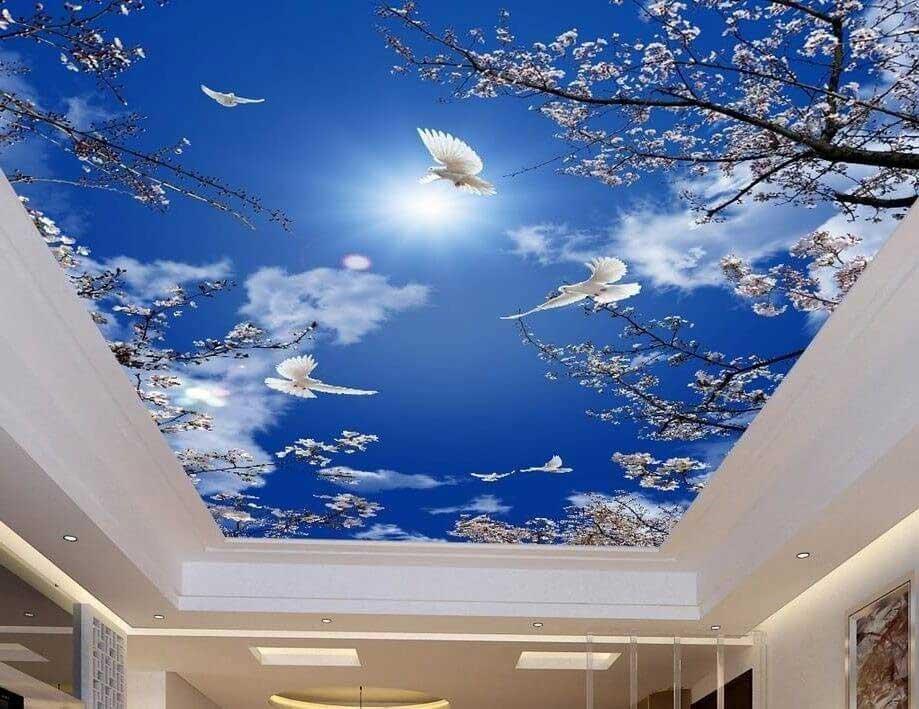 Фотопечать на потолке небо