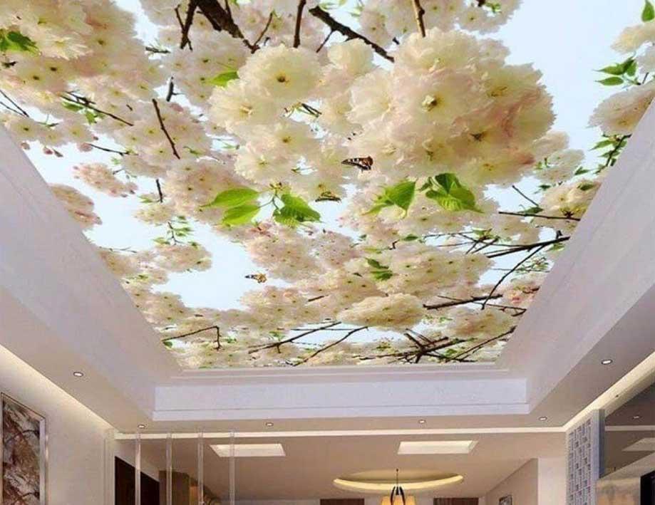 Потолок с рисунком сакура