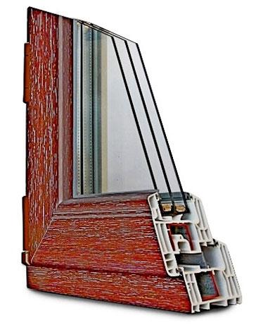 Ламинирование окна цвет махагон