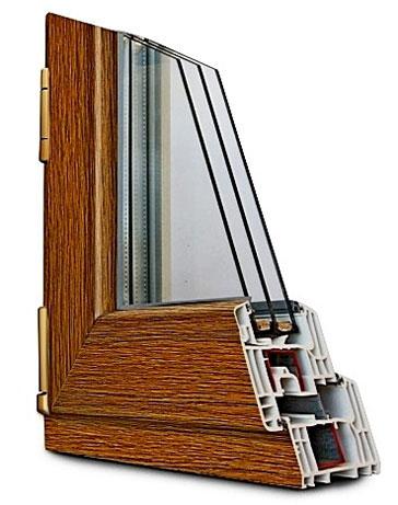 Ламинирование пластикового окна цвет орех