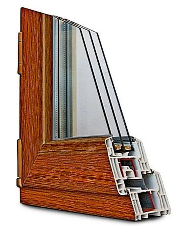 Ламинирование ПВХ окна цвет золотой дуб